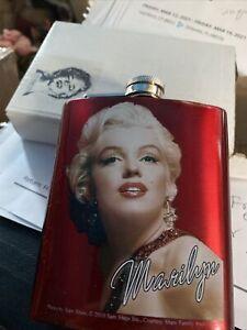 Marilyn Monroe Hip Flask Stainless Steel 8oz Screw Cap Liquor Whiskey Vodka Red