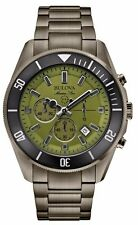 Bulova Men's Marine Star Chronograph Green Dial Gray Watch 43mm 98B206