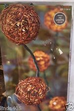 10 BROWN VINE WICKER BALL STRING LIGHTS WEDDING RV PARTY PATIO IN/OUTDOOR
