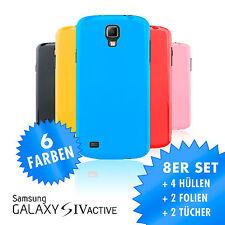 4x Samsung Galaxy S4 Active Handy Tasche Silikon Hülle TPU Case Cover + 2x Folie