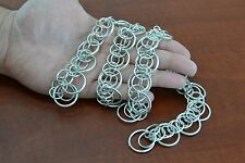 HANDMADE SILVER PLATED METAL JUMP RING STRING NECKLACE #T-3I2