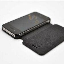 Combo Black Leather & PC Hard Flip iPhone 4S 4G Case Cover w/ Screen Protector