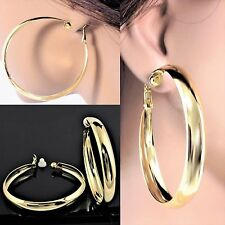 """#C105 NEW CLIP ON NON-PIERCED 0.35"""" Wide Polished Big LARGE 2.3"""" Hoop EARRINGS"""
