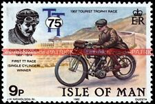 COLLIER Charlie First Race TT Tourist Trophy 1907 Isle of MAN  Moto Timbre Poste