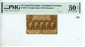 25C UNITED STATES FRACTIONAL CURRENCY FIRST ISSUE FR.1281 PMG AU 50 #52