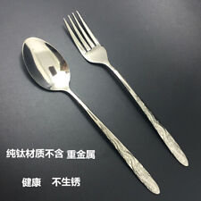 Pure Titanium Clean Healthy fork spoon Set Camp hiking Tableware