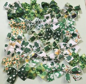 30 MED-LARGE St Patrick's Day Dog Bows Dog Grooming Bows Top Quality Ribbons USA