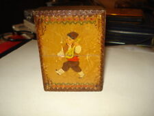 VINTAGE OLD WOOD BOX PLAYING CARDS BOX DOVETAILED BOX HANDMADE