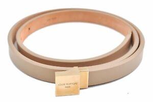 """Auth Louis Vuitton Ceinture Carre Ladies Belt Beige Size 91cm 35.8"""" LV D7904"""