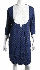JUNYA WATANABE Blue Geometric Print Crinkled Pleated Tuxedo Bib Shirt Dress L