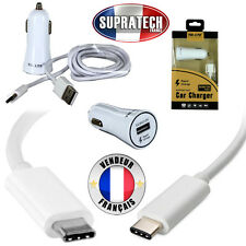 Chargeur Rapide Voiture Allume Cigare Blanc Type C pour Samsung Galaxy A3 2017
