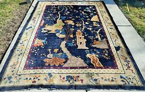 Antique Chinese Art Deco Rug  9'x11'9""