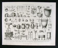 1874 Print Roman Artifacts Ceramic Vase Types Pins Lamp Mirror Personal Objects