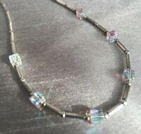 Vintage Swarovski Elements AB Crystal Cube Bead 925 Silver Necklace