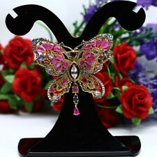 NATURAL PINK RUBY SAPPHIRE & TANZANITE BUTUERFLY BROOCH/PENDANT 925 SILVER