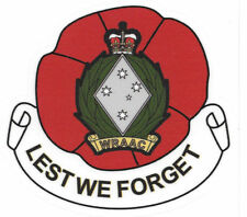 WRAAC  LEST WE FORGET POPPY WITH BADGE UV LAMINATED VINYL STICKER 94MM HIGH