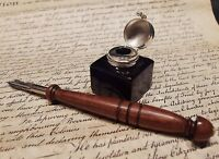 Antique Style Glass Square Cobalt Blue Inkwell Ink Pot with Dip Calligraphy Pen