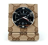 Authentic GUCCI GG Canvas & Brown Leather Alarm Travel Table Clock Made Swiss