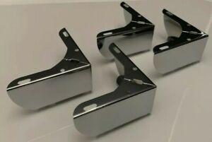 Set of 4×Quality Chrome L Shape Corner Legs  Feet Sofas - Bed - Chairs - Stools