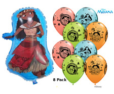 """Moana Party Balloons - Pack of 8 x 12""""Latex balloons &  20"""" Foil Figure Balloon"""