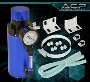 For Ford Racing Autox Motor Oil Line Catch Can Tank Blow Back Filter Mesh Blue