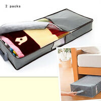 2 Pack Under Bed Storage Bag Containers Clothes Box Underbed Organizer Non-Woven