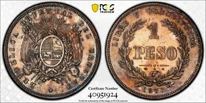 PCGS Uruguay 1877 A Mint 1 One Peso Silver Coin Nice Toned UNC Cleaned