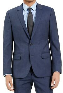 Hugo Boss Mens Suit Jacket Navy Blue Size 38 R Slim Fit Micro-Check $445 006