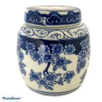 Antique Chinese Blue & White Porcelain Ginger Jar Cherry Blossom Motif + lid