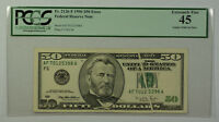 1996 $50 Bill Error Gutter Fold on Face Note FRN PCGS 45 Fr. 2126-F