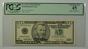 1996 $50 Bill Error Gutter Fold on Face Note FRN PCGS 45 Fr. 2126-F