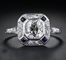 Art Deco Vintage Cushoin Cut Cubic Zirconia Anniversary Ring 925 Sterling Silver