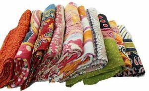 Vintage Kantha Quilt Indian Handmade Throw Bedspread Cotton Pack Of 2 Blanket