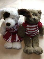 Lot of 2 Build A Bear BAB Animals Brown Teddy Bear & Plush Cheer Dog D1