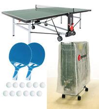 Tischtennisplatte outdoor SPONETA S 5-72 e grün im Set mit Hülle u Schlägerset