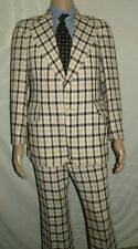 Vtg Men's 60s Wellington Wool Brown & Tan Plaid 2 Pc Suit Blazer 38 Pants 30x30