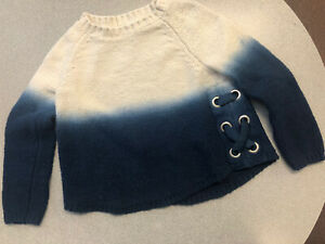 Justice Sweater 6 Long Sleeve White With Blue Ombre Bottom