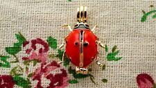 ladybird pendant charm gold enamel jewellery supplies C1181