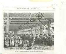 Atelier Taille et le polissage du Cristal Cristallerie Industrie GRAVURE 1877