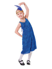 BLUE anni 1920 20 Costume & Fascia 20V CHARLESTON Ragazze Fancy Dress Outfit