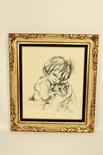 Vintage Hyacinthe Kuller Child with Puppy Dog Lithograph Art Print Glass Framed