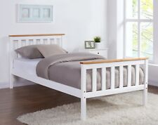 White Wooden Bed Frame Top Pine Oak Single Size and with Mattress