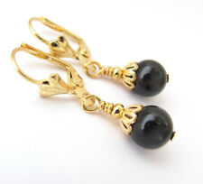 BLACK PEARL EARRINGS Using Swarovski Crystal Pearls GOLD PLATED LEVER BACK DROPS