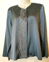 Womens Eilleen Fisher,Lovely Silk,Dressy Slate Blue,Embellished Jacket/Blazer L