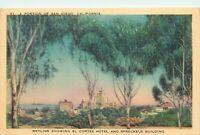 Linen Postcard CA P625 San Diego Skyline El Cortez Hotel Spreckels Building 1943
