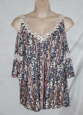 ALWAYS INDIGO - BABY DOLL COLD SHOULDER TOP – BLUE PINK WHITE - SIZE 3X -NWT $45