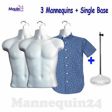 3 Pack Male Torso Dress Mannequins with 3 Hangers and 1 Stand
