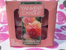 YANKEE CANDLE SUN DRENCHED APRICOT ROSE TEALIGHTS NIB SET OF 12 NEW HTF SCENT