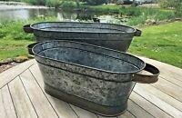 Long Vintage Galvanised Metal Barrel Planters Tub Plant Flower Pot Garden