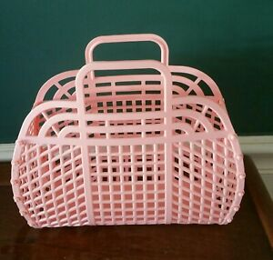 """NEW Vintage Retro PEACH 9"""" (1980's) JELLY Plastic Purse as GIFT BASKET US Made"""